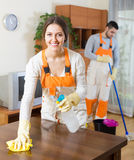 Professional cleaners at work Royalty Free Stock Photos