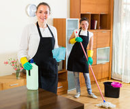 Professional cleaners at work Stock Photos