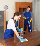 Professional cleaners working Stock Images