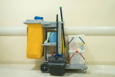 Professional cleaning cart in the hospital.  Royalty Free Stock Photos