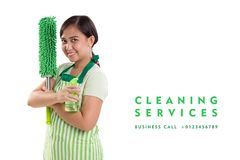Professional Cleaning Service advertising. Professional Cleaning Service advert, portrait of cleaning lady holding products with arms crossed. Template design stock photo