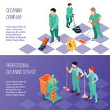 Professional Cleaning Service Isometric Banners. Professional industrial deep cleaning company team equipment and services 2 horizontal isometric banners set Royalty Free Stock Photos