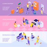 Professional Cleaning Service Isometric Banners Stock Images