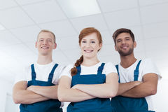 Professional cleaning service workers Stock Images