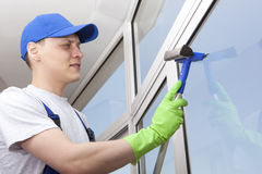Professional cleaning washes window Royalty Free Stock Images