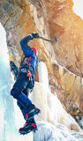 Professional climber on icy waterfall Stock Images