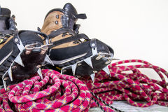 Professional climbing gear - rope, ice screws, crampon  hobnaile Stock Image