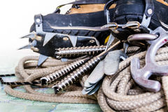 Professional climbing gear - rope, ice screws, crampon  hobnaile Royalty Free Stock Image
