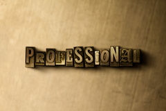 PROFESSIONAL - close-up of grungy vintage typeset word on metal backdrop Stock Photography