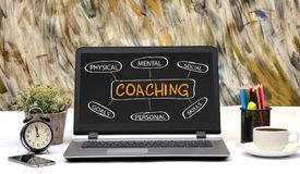 Professional Coaching concept chart on Laptop Screen royalty free stock photos