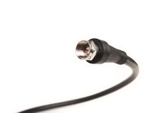 Professional coaxil cable tv connector (RG6) close up Stock Photography