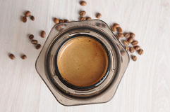 Professional coffee brewing cafe aeropress. Professional fresh coffee brewing aeropress, inverted method stock images