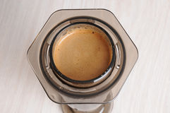 Professional coffee brewing cafe aeropress. Professional fresh coffee brewing aeropress, inverted method Stock Photo