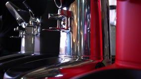 Professional coffee machine, close up stock video