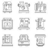 Professional coffee machines flat line icons Stock Photo