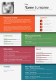Professional colored resume cv design bookmarks template. Vector eps 10 Stock Photography