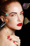 Professional colorful makeup for red-haired models Stock Photography