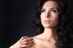 Professional colourful make-up and manicure Stock Photography
