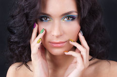 Professional colourful make-up and manicure Royalty Free Stock Photo