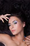 Professional colourful make-up and manicure Stock Image