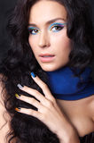 Professional colourful make-up and manicure Royalty Free Stock Photography