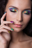 Professional colourful make-up and manicure Royalty Free Stock Images