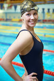 Professional competitive swimmer. Portrait of Female professional competitive swimmer in swimming pool Royalty Free Stock Photos