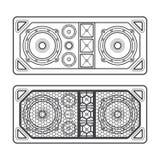 Professional concert tour array speakers dark contour illustrati Royalty Free Stock Images
