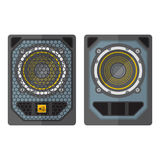 Professional concert tour array subwoofer speakers colored flat Royalty Free Stock Photography