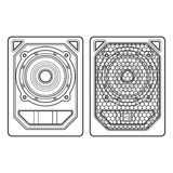 Professional concert tour array subwoofer speakers dark contour Royalty Free Stock Photo