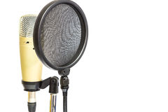 Professional condenser microphone with pop filter. Isolate professional condenser microphone with pop filter in white background Stock Images