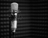 Professional condenser studio microphone. black and white photo Stock Images