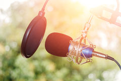 Professional condenser studio microphone, Musical Concept Royalty Free Stock Image