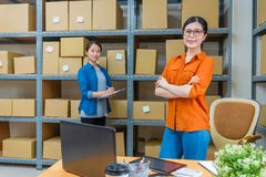 Confidence online shopping office workers. Professional confidence online shopping office workers looking at camera and working on warehouse processing order to Stock Images