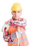 Professional construction worker resting Stock Photos