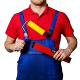Professional construction worker with tools in hands Royalty Free Stock Photos