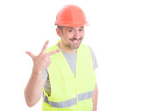 Professional constructor doing number three sign Stock Photography