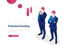 Professional consulting service advice partner for the business, brainstorming, teamwork, lawyer, isometric people. Vector vector illustration