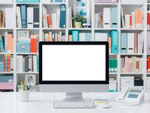 Professional contemporary workspace with computer. Supplies and colorful folders on the background Royalty Free Stock Image
