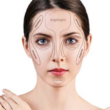 Professional contouring face make-up. Stock Image