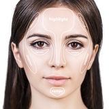 Professional contouring face make-up. Royalty Free Stock Photography