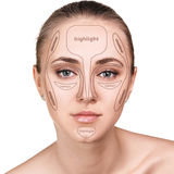 Professional contouring face make-up. Royalty Free Stock Photos