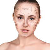 Professional contouring face make-up. Royalty Free Stock Photo