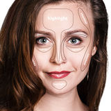 Professional contouring face make-up. Stock Photo