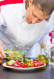 Professional cook prepares a plate with salami and fresh salad Royalty Free Stock Images