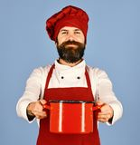 Professional cookery concept. Cook with happy face in burgundy uniform. Professional cookery concept. Cook with happy face in burgundy hat and apron holds soup stock image