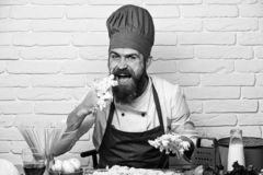Professional cookery concept. Cook with hungry happy face. In burgundy uniform eats raw dough mix at table. Man with beard licks dough off fingers on white royalty free stock photography