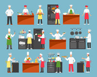 Professional Cooking Decorative Icons Set. With chefs at cooker and waiters with trays isolated vector illustration royalty free illustration