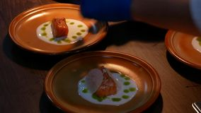Professional cooking salmon fish fillets. Gourmet food decoration. Delicious cooked salmon fish fillets. Food preparation in the restaurant. Professional stock video footage