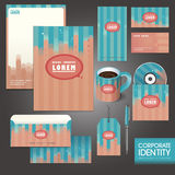 Professional corporate identity template with pink line Royalty Free Stock Photography